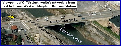 2015 Birds-Eye Westward Looking View of North George Street Bridge over Codorus Creek in York, PA (Bing.com Birds Eye View; with annotations by S. H. Smith, 2015)
