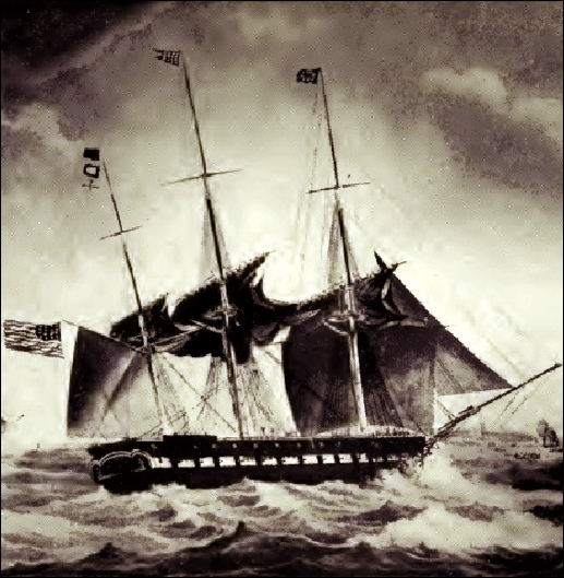 "Illustration of the U.S.S. Brandywine off Malta on November 6, 1831 (From opposite page 26 of the book ""Old Naval Days"" by Sophie Radford de Meissner; a Public Domain Image in Wikipedia)"