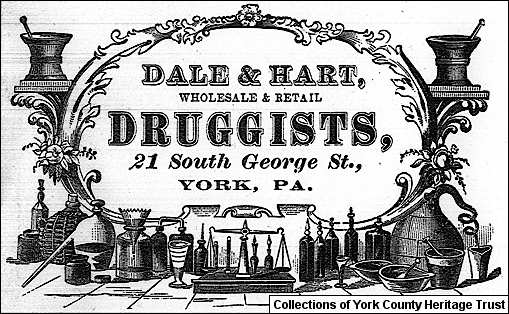 Dale & Hart, Druggists, Logo from Bill of Sale Letterhead dated January 16, 1873 (Collections of York County Heritage Trust)