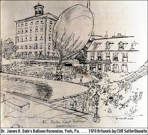 Last Balloon Ascension of Dr. James A. Dale (1970 Artwork by Cliff Satterthwaite; from Photo in Collections of the York County Heritage Trust)