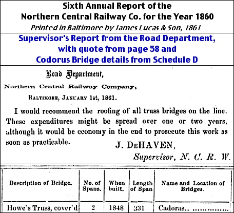 Photocopy of Paragraph on Page 58 and Detail from Schedule D from Sixth Annual Report of the Northern Central Railway Co. for the Year 1860 (University of California Library)