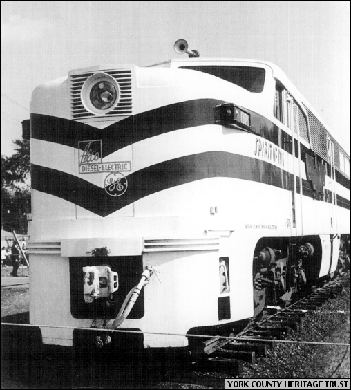 """Spirit of 1776"" Streamliner Locomotive within the York Fairgrounds, York, PA, on October 10, 1948 (Photo from Collections of York County Heritage Trust)"