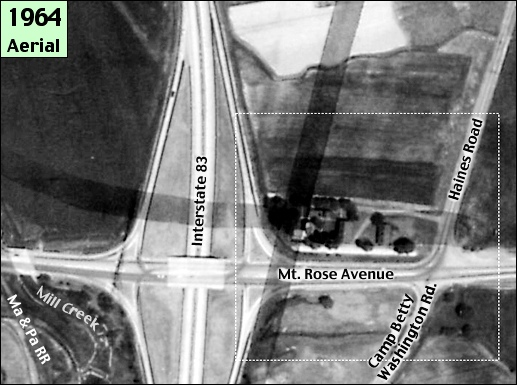 May 30, 1964, Aerial Photo of Mt. Rose Avenue intersection of I-83 in Springettsbury Township, York County, PA (Section of May 30, 1964, Aerial Photo from Collections of York County Archives; Annotations added by S. H. Smith, 2015)