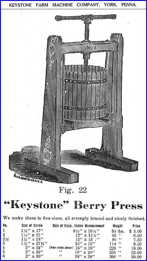 """Keystone"" Berry Press, appearing on page 21 of Keystone Farm Machine Company Catalog of Agricultural Implements (Collections of York County Heritage Trust)"