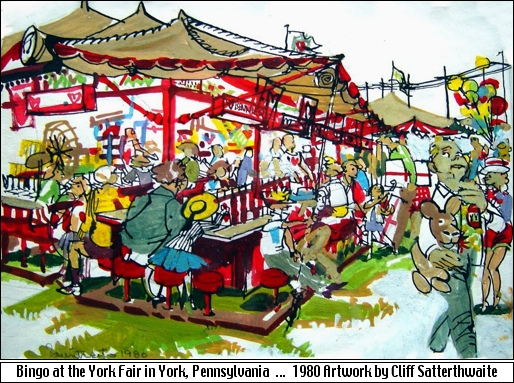 Bingo at the York Fair in York, Pennsylvania (1980 artwork by Cliff Satterthwaite)