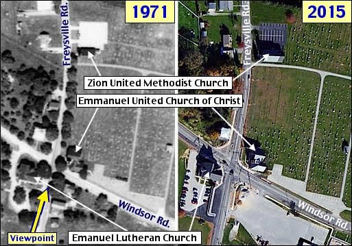 1971 and 2015 Aerial Photos of Freysville, York County, PA (August 12, 1971, Aerial Photo from Penn Pilot site of Historic Aerial Photos, 2015 Aerial Photo from Bing.com; Annotated by S. H. Smith, 2015)