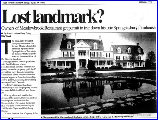 "Meadowbrook Inn appears in ""Lost Landmark?""—an article in the April 30, 1992 issue of This Week, a weekly newspaper serving Springettsbury and Spring Garden Townships (Collections of York County Heritage Trust)"