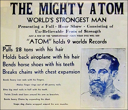 The Mighty Atom Poster in Strongman Exhibit at The Weightlifting Hall of Fame (2015 Photos, S. H. Smith)