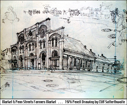 Market & Penn Streets Farmers Market, York, PA (1976 Pencil Drawing by Cliff Satterthwaite)
