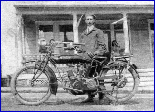 Fred LaMotte of Red Lion stands behind his Indian Motorcycle (Photocopy provided by Fred's daughter Dorcas LaMotte Townsley)