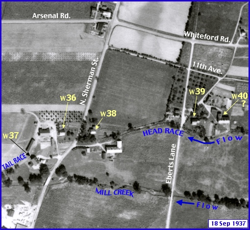 Enlarged View of Penn Pilot Aerial Photo, from Sept. 18, 1937, in Western Area within Springettsbury Township (Annotations by S. H. Smith, 2015)