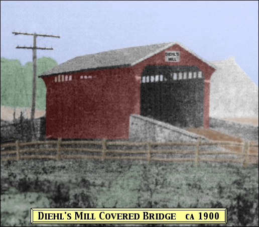 Diehl's Mill Covered Bridge enlarged from Grant Voaden, ca 1900, Diehl Mill Landscape Photo in Collections of York County Heritage Trust (Colorized by S. H. Smith, 2015)