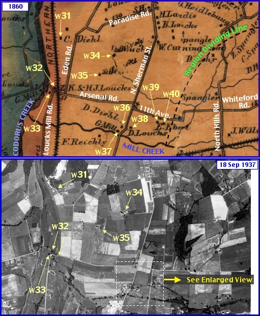 Western Area in what is now Springettsbury Township; from Shearer's 1860 Map of York County, PA & Penn Pilot Aerial Photo, from Sept. 18, 1937, of Same Area (Annotations by S. H. Smith, 2015)