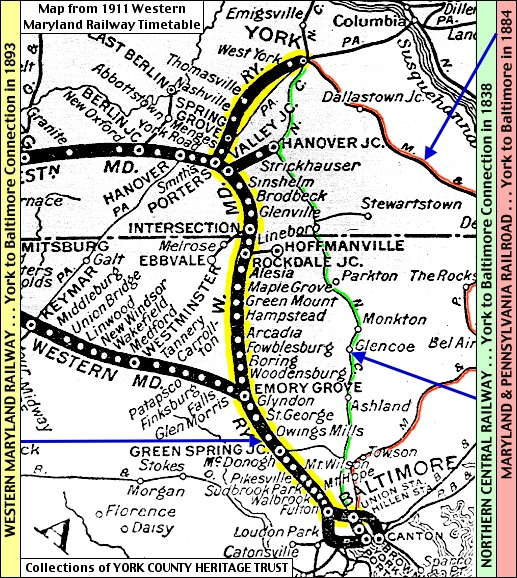Map Detail in a 1911 Western Maryland Railway Timetable (2015 S. H. Smith Annotations on Map from Collections of York County Heritage Trust)