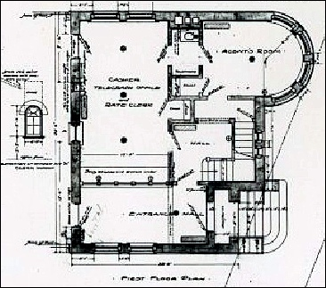 First Floor Plan of Freight Office of Baltimore & Harrisburg Railway, Eastern Extension (Western Maryland Railway) in York, PA by John A. Dempwolf (Collections of York County Heritage Trust)