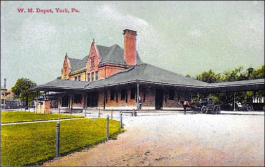 Postcard painting of East & South Sides of the Western Maryland Railway Passenger Depot in York, PA, ca. 1900 (Collections of S. H. Smith)