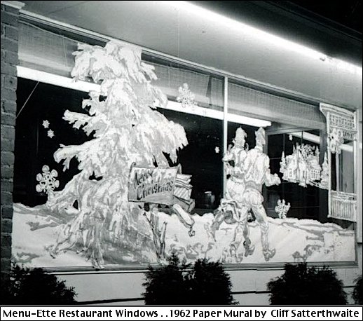 Christmas Window Artwork at Menu-Ette Restaurant, 3312 East Market Street, Springettsbury Township, York County, PA (1962 Photo submitted by Cliff Satterthwaite)