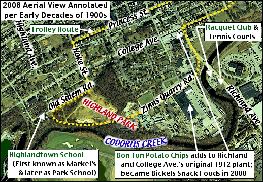 Aerial View of location immediately Southwest of York, PA (2008 Aerial View from York County Tax Assessment Office; Annotated by S. H. Smith, 2016)