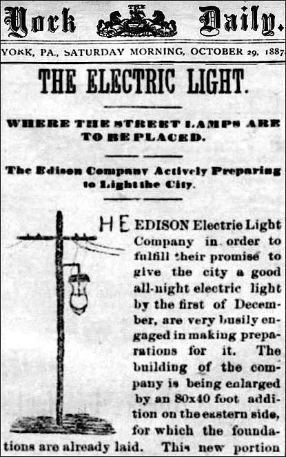 Edison Lights Streets As York Becomes A City Yorkspast