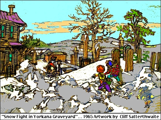 """Snow Fight in Yorkana Graveyard,"" Yorkana, York County, PA (1962 Artwork by Cliff Satterthwaite)"