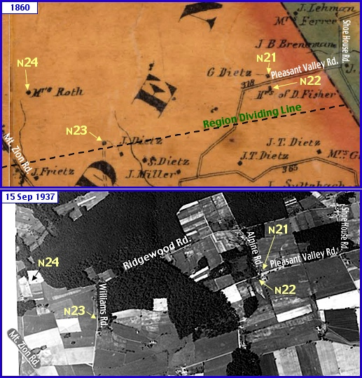 South of Rocky Ridge in what is now Springettsbury Township; from Shearer's 1860 Map of York County, PA & Penn Pilot Aerial Photo, from Sept. 15, 1937, of Same Area (Annotations by S. H. Smith, 2015)