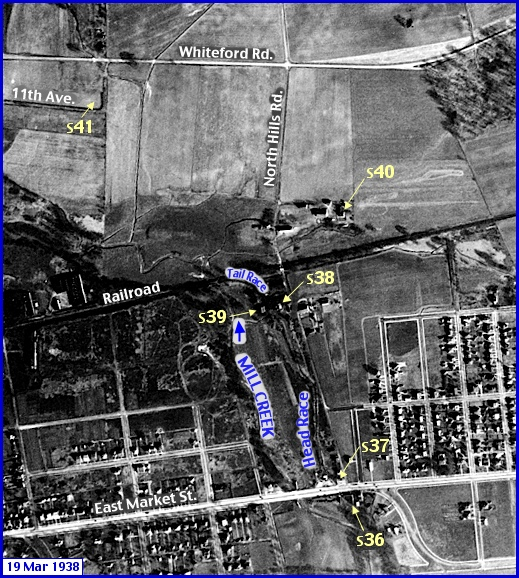 Enlarged View of Penn Pilot Aerial Photo, from March 19, 1938, in the North Hills Road Area within Springettsbury Township (Annotations by S. H. Smith, 2016)