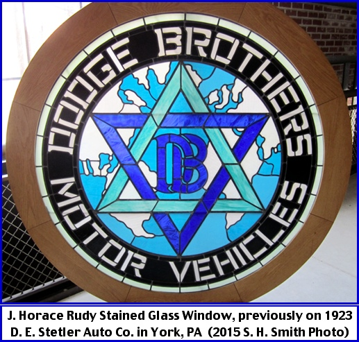 J. Horace Rudy Stained Glass Window, previously on 1923 D. E. Stetler Auto Company in York, PA (2015 S. H. Smith Photo)