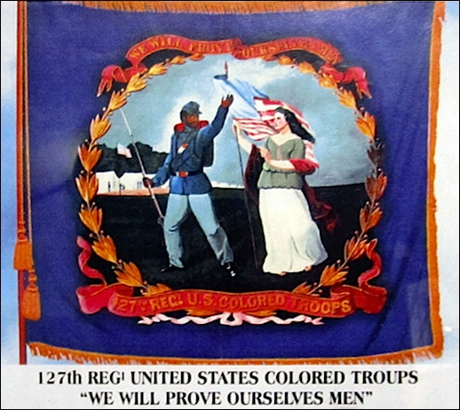 Front of Battle Flag for the 127th Regiment, United States Colored Troops (From photo on display at Grand Army of the Republic Museum and Library, Philadelphia, PA; 2016 Photo by S. H. Smith)