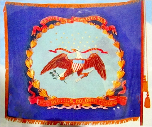 Opposite Side of Battle Flag for the 127th Regiment, United States Colored Troops (From photo on display at Grand Army of the Republic Museum and Library, Philadelphia, PA; 2016 Photo by S. H. Smith)