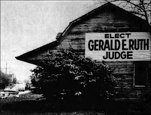 Prominently and conspicuously located along busy Industrial Highway is a large sign promoting the candidacy of Attorney Gerald E. Ruth for a judgeship in York County Courts (York Daily Record Photo)