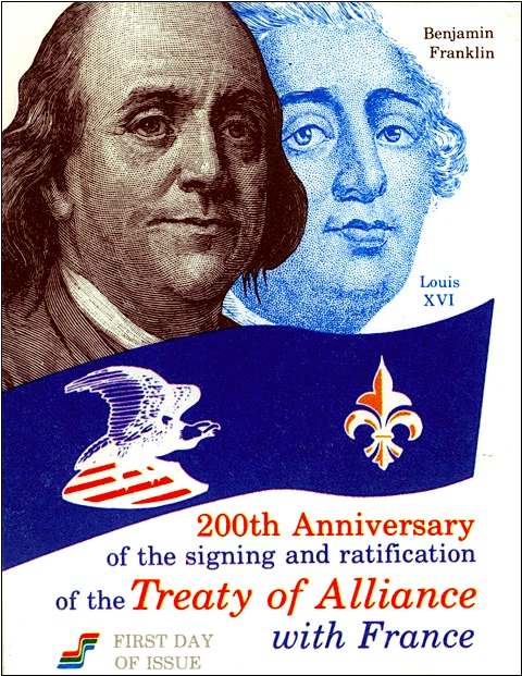 Illustration on First Day of Issue Envelope for the US Bicentennial French Alliance Postage Stamp (S. H. Smith Collections)