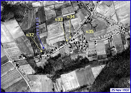 Enlarged View of Penn Pilot Aerial Photo, from November 25, 1937, in the Glades Area within Springettsbury Township (Annotations by S. H. Smith, 2016)