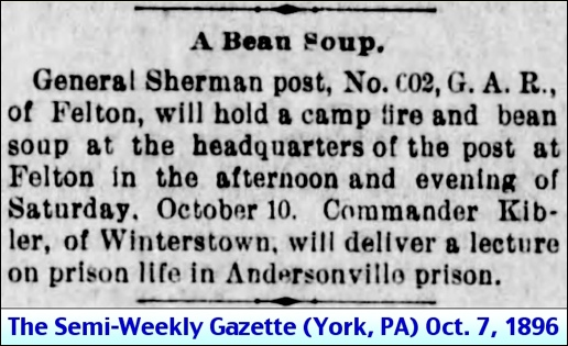 A Beam Soup in Felton, York County, PA (Announcement in October 7, 1896, issue of The Semi-Weekly Gazette in York, PA)