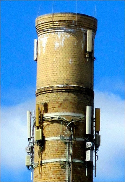 Top of 1916 Smokestack at Edison Plant photographed from West Market Street (2016 Photo by S. H. Smith)