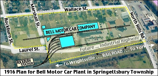 Southward Looking Site Plan of 1916 Bell Motor Car Plant in Springettsbury Township (S. H. Smith, 2016; Drawn over Bing.com Birds Eye View)