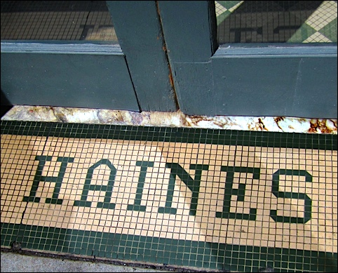 HAINES in Threshold Tiles at Philadelphia Street entrance to the former Haines Hotel in York, PA (2016 Photo by S. H. Smith)