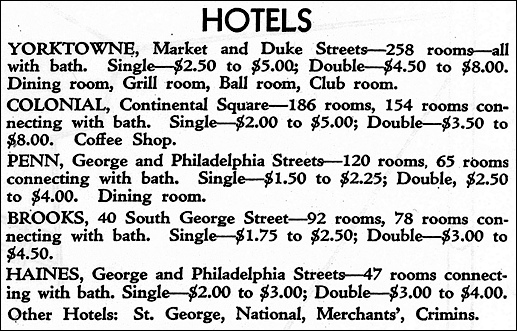 List of Top Hotels in York within Map of The City of York (Issued in 1930 by York Chamber of Commerce; from Collections of York County History Center)