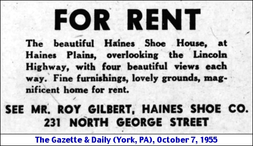 Haines Shoe House for Rent Ad (The Gazette & Daily, October 7, 1955)
