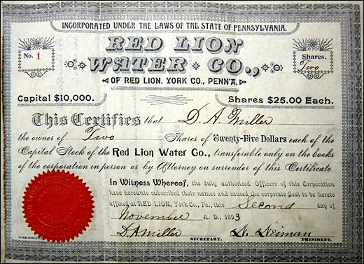 Stock Certificate No. 1 for the Red Lion Water Company; dated November 2, 1893 (Submitted by Shirley Keeports)
