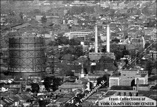 Circa 1930 Eastward Looking Aerial View along West Philadelphia Street in York, PA (From Collections of York County History Center, Annotated by S. H. Smith, 2016)