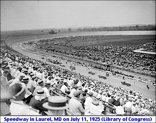 Wide View of the Baltimore-Washington Speedway in Laurel, Maryland on Opening Day: July 11, 1925 (Library of Congress, Prints and Photographs Division)