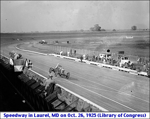 Close View of the Baltimore-Washington Speedway in Laurel, Maryland during October 26, 1925 (Library of Congress, Prints and Photographs Division)