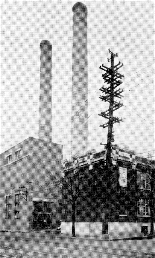 Enlarged Section of 1945 Northeast View of Twin Smokestacks at Edison Plant in York, PA (The Story of a Dynamic Community, York, PA, by York Chamber of Commerce, January 1946, Page 136; Collections of S. H. Smith)