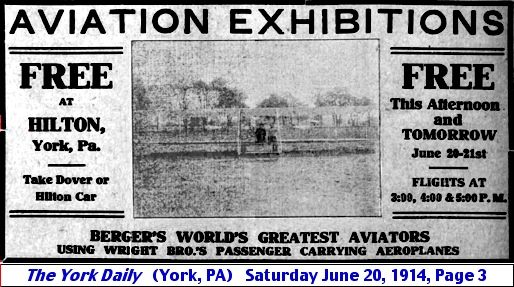 Notice of Free Aviation Exhibitions at Hilton Stop on the Dover Trolley Line (The York Daily, Saturday June 20, 1914)
