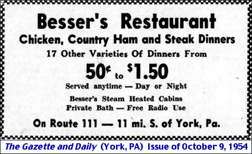Besser's Restaurant ad in Oct. 9, 1954 issue of The Gazette and Daily
