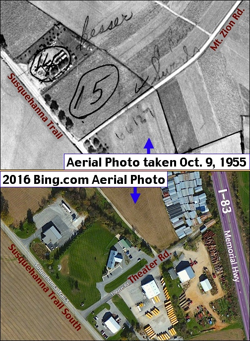1955 vs. 2016 Aerial Photo Comparison of a Section of Susquehanna Trail in Shrewsbury Township, York County, PA (1955 Photo from York County Archives and 2016 Photo from Bing.com)