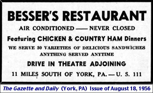 Besser's Restaurant ad in Aug. 18, 1956 issue of The Gazette and Daily