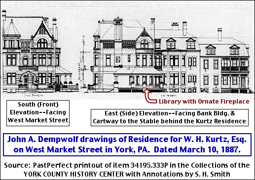John A. Dempwolf's 1887 drawings of the south (front) elevation and east (side) elevation of the residence for W. H. Kurtz, Esq. on West Market Street in York, PA. (Collections of the York County History Center with Annotations by S. H. Smith)