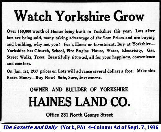 Watch Yorkshire Grow ad in the Sept. 7, 1936, issue of The Gazette and Daily