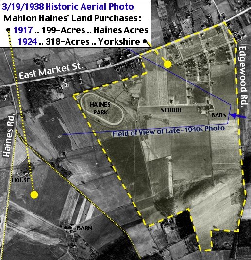 March 19, 1938, Historic Aerial Photo from Penn Pilot annotated with Mahlon Haines' 1917 and 1924 Land Purchases in Springettsbury Township, York County, PA (Annotated by S. H. Smith, 2016)